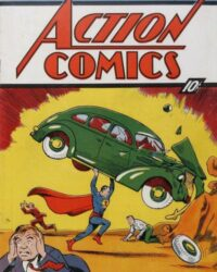 Stålmannens debut i Action Comics nr 1 (juni 1938). Bild: Joe Shuster. Copyright DC Comics, hämtad från Grand Comics Database.