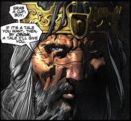 En grånad kung Conan låter nedteckna sina äventyr. Bild av Tomás Giorello.